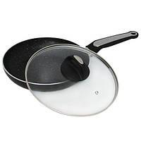 Сковорода 24см с мраморным покрытием и крышкой