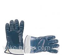 Рукавицы нитриловые синие с жёстким манжетом