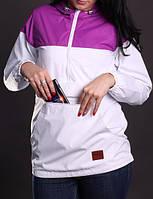 Ветровка женская спортивная, анорак Olymp сиреневый с капюшоном (женские спортивные куртки)