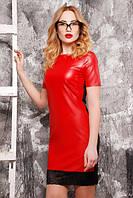 Женское красное кожаное платье с кружевом
