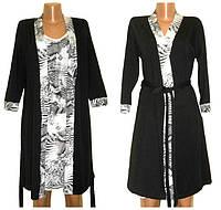 Комплект пеньюар из вискозы Ночь, рубашка и черный халат, р.р.42-54