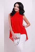 Шифонова блузка червоного кольору з пелериною