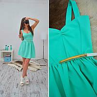 Женское стильное приталенное платье с пояском (2 цвета), фото 1
