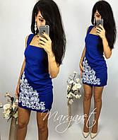 Женское шикарное синее платье с узором