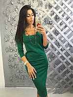 Женское стильное базовое платье-миди (5 цветов), фото 1