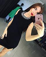 Женское стильное платье с украшением (маленькое черное платье), фото 1