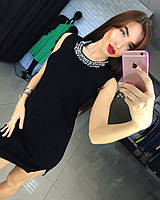 Женское стильное платье с украшением (маленькое черное платье) 42/46 единый, черный