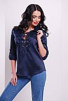 Модная женская блузка темно-синего цвета