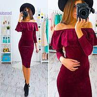Женское модное бархатное платье с рюшей (2 цвета), фото 1