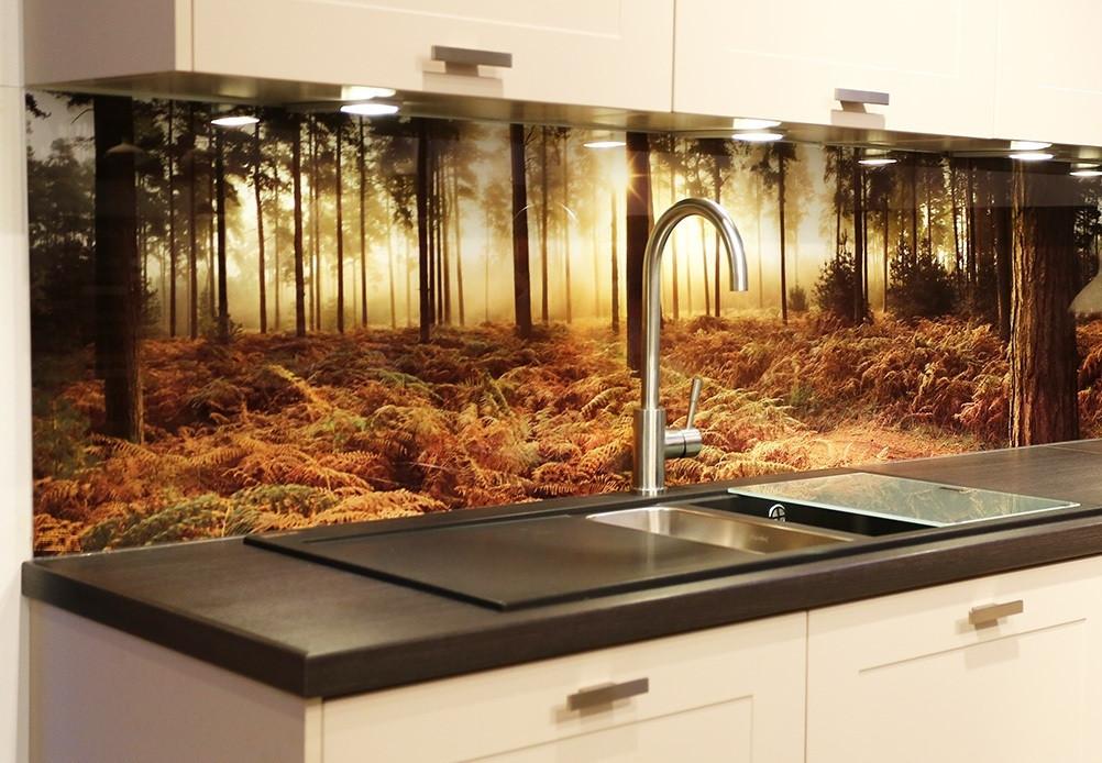 Стеклянный фартук для кухни пейзаж осеннего леса на закате
