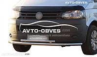 Двойная защита переднего бампера VolksWagen Transporter T5 2010—2015