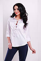 Белая нейлоновая блузка со шнуровкой