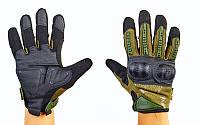 Перчатки тактические с закрытыми пальцами и усил. протектор MECHANIX MPACT 3 (р-р M-XL,оливковий)