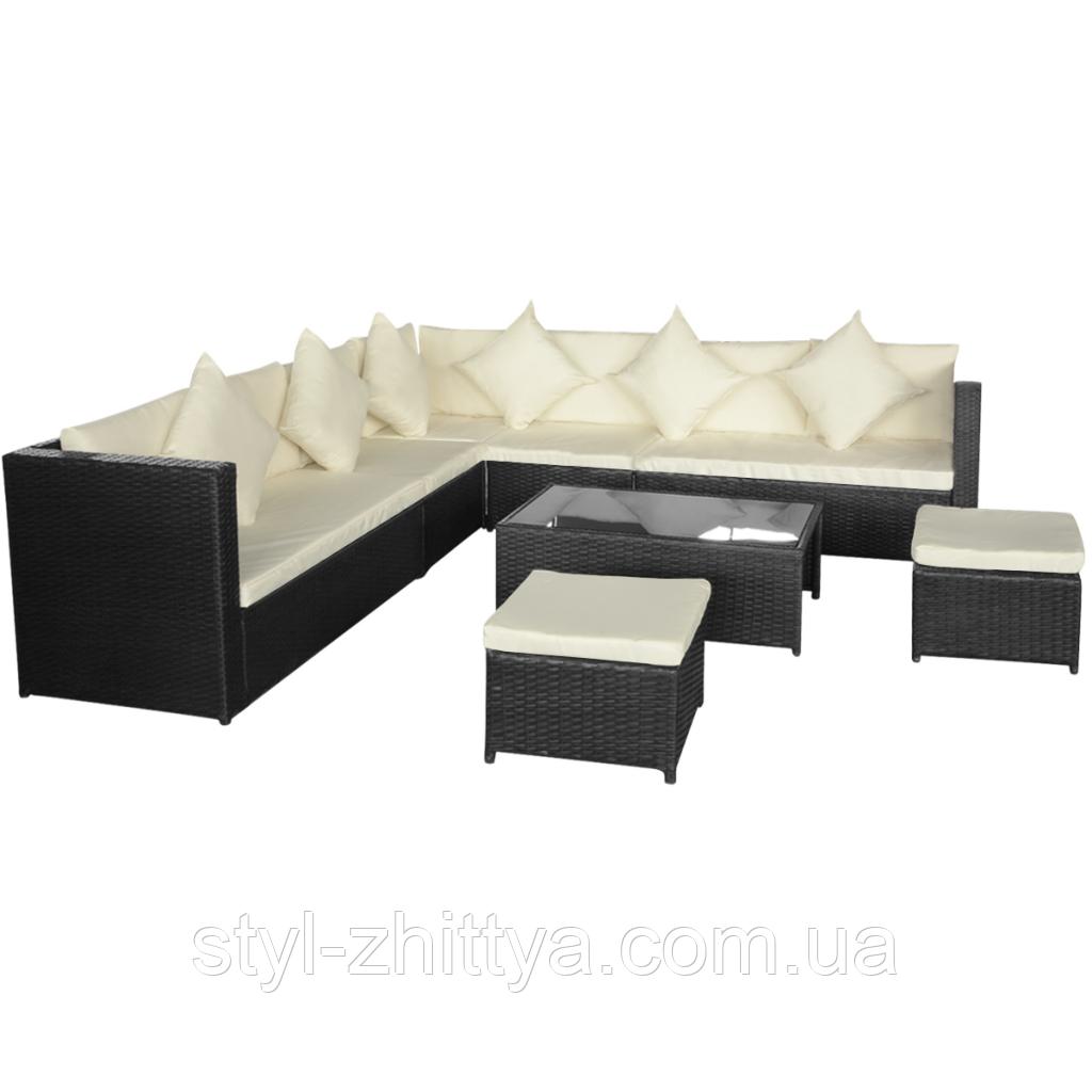 Комплект садових меблів. Кутовий диван XL з штучного ротангу