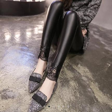 Женские стильные кожаные лосины с кружевами Арт.CZ803, фото 2