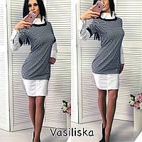 Женское стильное трикотажное платье со вставками , фото 1