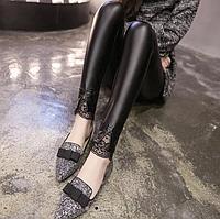 Женские стильные кожаные лосины с кружевами на тонком флисе Арт.CZ906