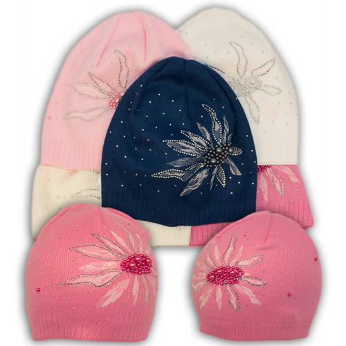 Вязаная шапка с бусинками, для девочки, B25