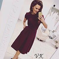 Женское модное удлиненное платье-миди (4 цвета) марсала, S