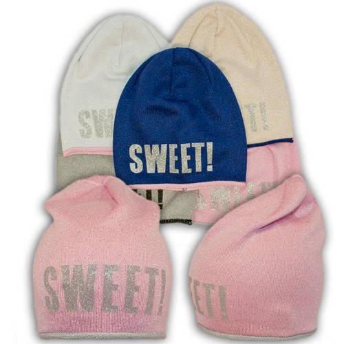 Вязаная шапка с ниткой люрекс удлиненная, для девочки, B67