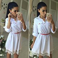 Женское стильное льняное платье с гипюром  С
