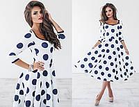 Женское элегантное платье с юбкой солнце в горох (4 цвета) 42, белый