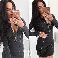 Женское теплое платье с молнией , фото 1