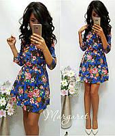 Женское красивое джинсовое платье с цветами принт, S