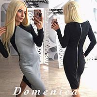 Женское модное платье с молнией на спине серый, M