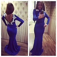 """Женское вечернее платье в пол с открытой спиной, кружевом """"Рыбка"""" (46-52 размеры под заказ)"""