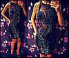 Женское нарядное платье  в россыпи камней  (черное, красное, синее) (Турция)