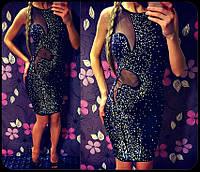 Женское нарядное платье  в россыпи камней  (черное, красное, синее) (Турция), фото 1