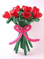Цветок из шариков с сердцем 1 шт