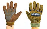 Перчатки тактические с закрытыми пальцами и усил. протектор OAKLEY (р-р M-XXL, олив)