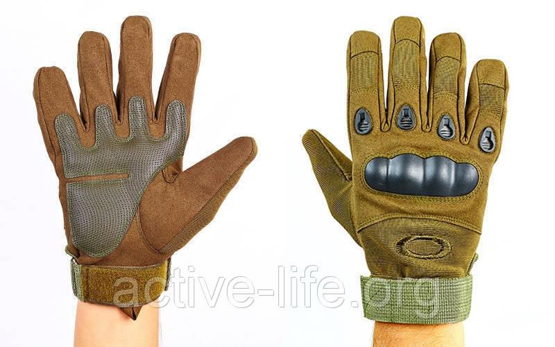 Перчатки тактические с закрытыми пальцами и усил. протектор OAKLEY (р-р M-XXL, олив), фото 1