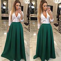 Женская красивая юбка в пол и рубашка (отдельно) зеленый, С