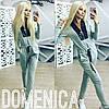Женский стильный комбинезон брюками со вставками из эко-кожи + (Большие размеры)