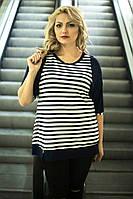 Женская стильная полосатая туника большого размера 60-62