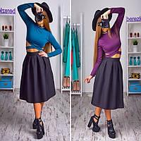 Женский модный костюм: топ с переплетом и юбка-миди (2 цвета)