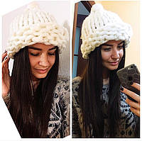 Женская мега модная шапка крупной вязки с подворотом (8 цветов)