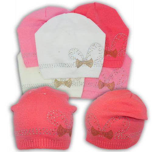 Вязаная шапка с бусинками, для девочки, V201