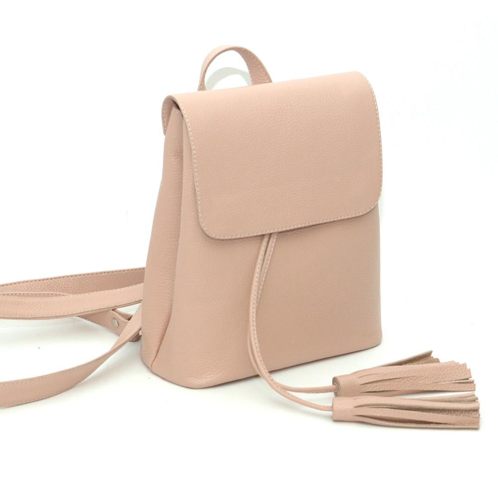 Женский кожаный рюкзачок 03 цвета пудра 02030113