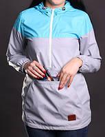 Ветровка женская спортивная, анорак Olymp бирюзовый с капюшоном (женские спортивные куртки)