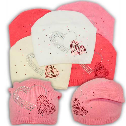 Вязаная шапка с бусинками, для девочки, V202