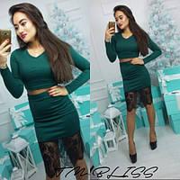 Женский модный костюм: топ и юбка с кружевом (3 цвета), фото 1