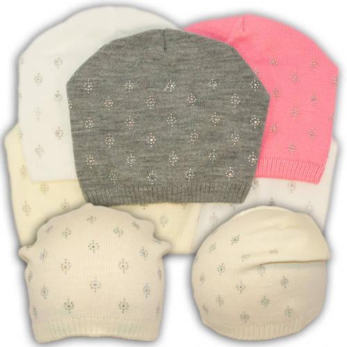 Вязаная шапка с бусинками, для девочки, V203