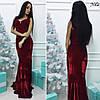 Женское стильное велюровое платье в пол с украшением (2 цвета)