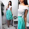 Женский модный костюм: кружевной топ и юбка из фатина (2 цвета)