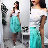 Женский модный костюм: кружевной топ и юбка из фатина (2 цвета), фото 1