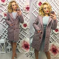 Женское модное шерстяное демисеззонное пальто прямого кроя розовый, S